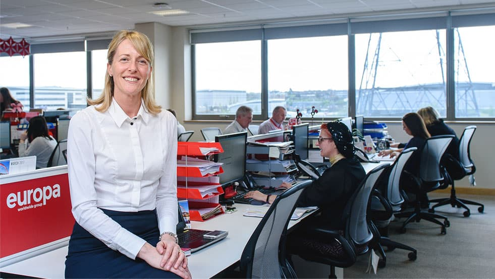 Dionne Redpath, Sales Director of Europa Road in the sales department in our Head office in Dartford.