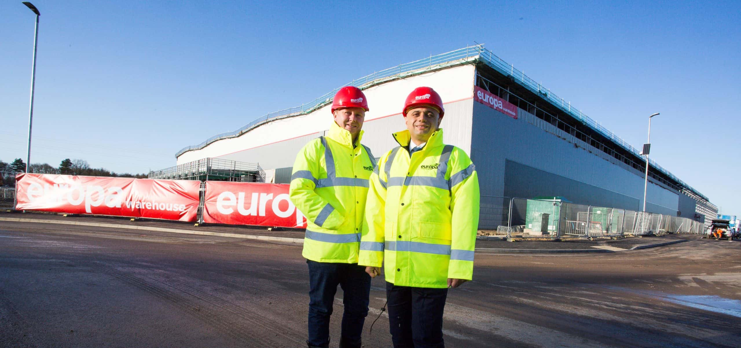 Chancellor of the Exchequer, Sajid Javid, visits Europa's new state-of-the-art site at Corby to celebrate first milestone being reached